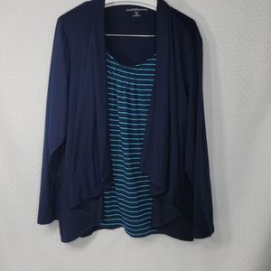 Croft and Barrow 2x faux cardigan layered top